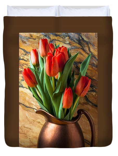 Orange Tulips In Copper Pitcher Duvet Cover by Garry Gay