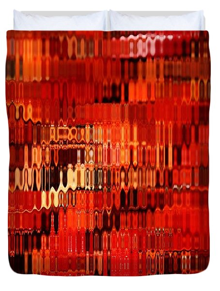 Orange Under Glass Abstract Duvet Cover by Carol Groenen