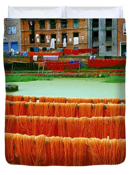 Orange Yarn Duvet Cover