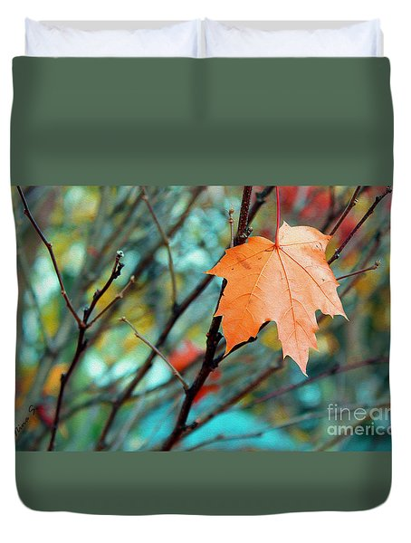 Orange You Gonna Fall Duvet Cover by Nina Silver