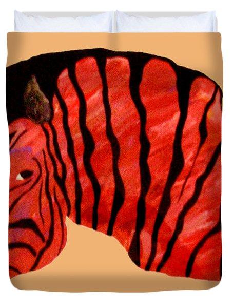 Orange Zebra Duvet Cover by Andrew Petras