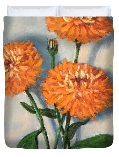 Duvet Cover featuring the painting Orange Zinnias by Randol Burns