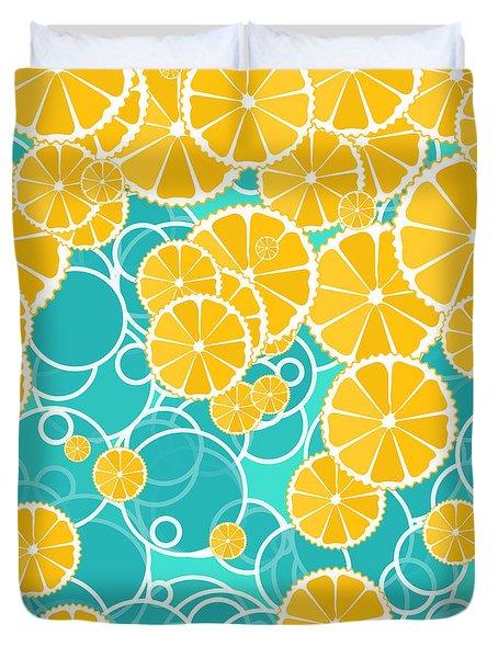 Oranges And Bubbles Duvet Cover