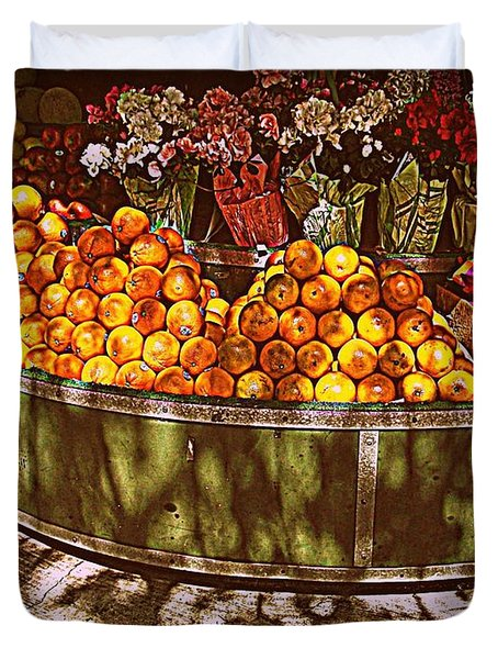 Oranges And Flowers Duvet Cover by Miriam Danar