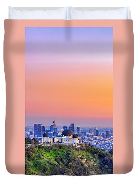 Orangesicle Griffith Observatory Duvet Cover