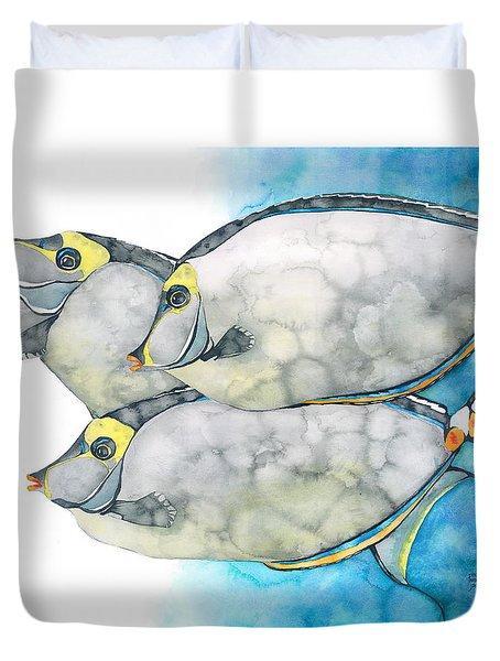 Orangespine Unicornfish Duvet Cover