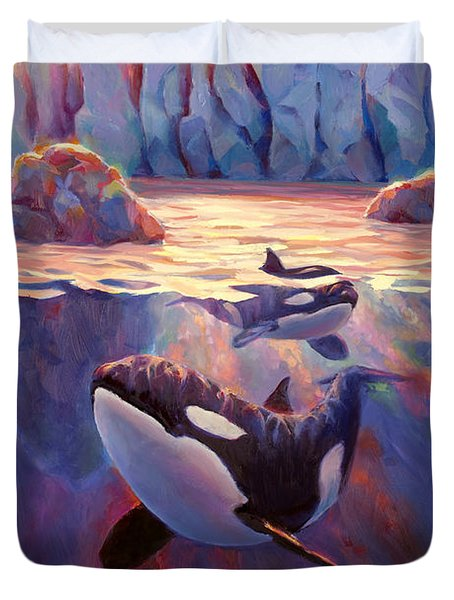 Orca Sunrise At The Glacier Duvet Cover