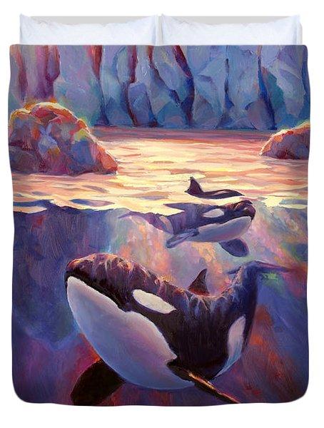 Orca Sunrise At The Glacier Duvet Cover