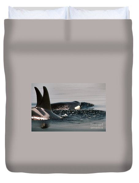 Duvet Cover featuring the photograph Orcas/killer Whales Off The San Juan Islands 1986 by California Views Mr Pat Hathaway Archives