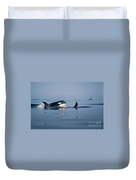 Duvet Cover featuring the photograph Orcas Off The San Juan Islands Washington  1986 by California Views Mr Pat Hathaway Archives