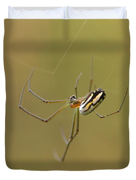 Duvet Cover featuring the photograph Orchard Spider by Greg Allore