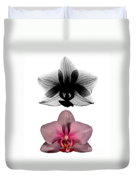 Orchid And Its X-ray Duvet Cover by Bert Myers