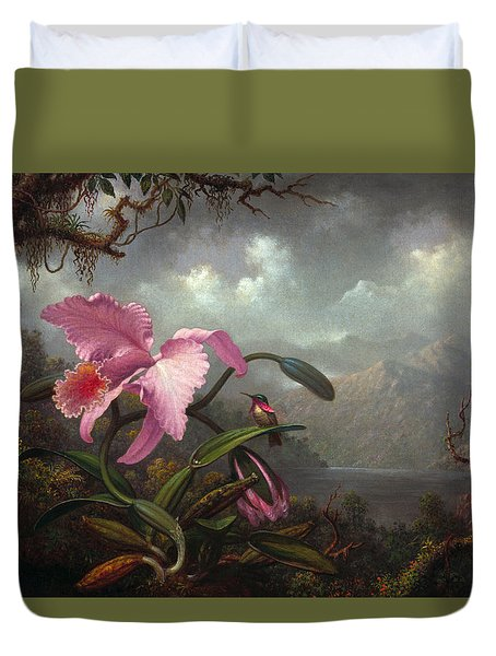 Orchid And Hummingbir Duvet Cover