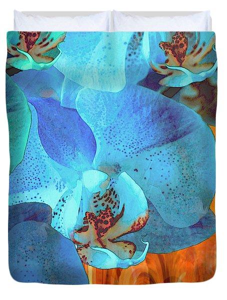Orchid Cascade Duvet Cover by Lynda Lehmann