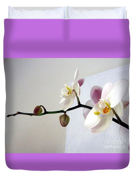 Orchid Coming Out Of Painting Duvet Cover