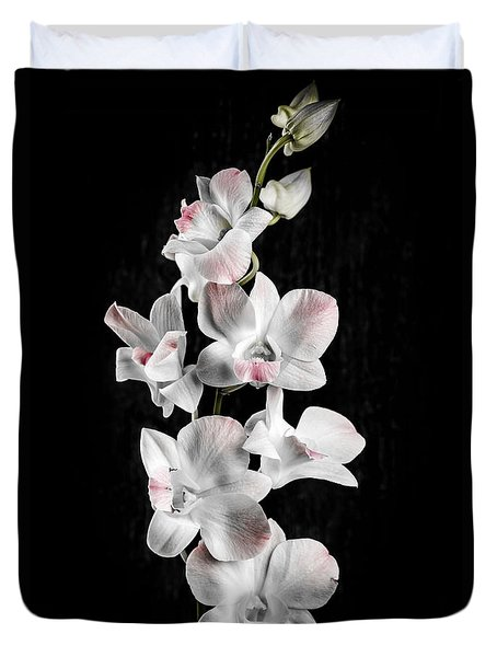 Orchid Flowers On Black Duvet Cover