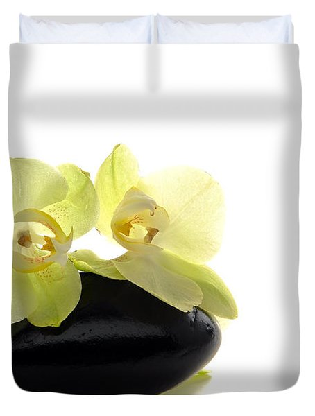 Orchid Flowers On Polished Stone Duvet Cover