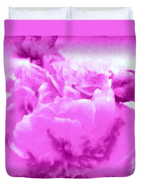 Duvet Cover featuring the photograph Orchid Frost Peony by Janine Riley