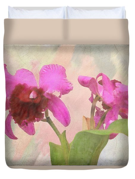 Orchid In Hot Pink Duvet Cover