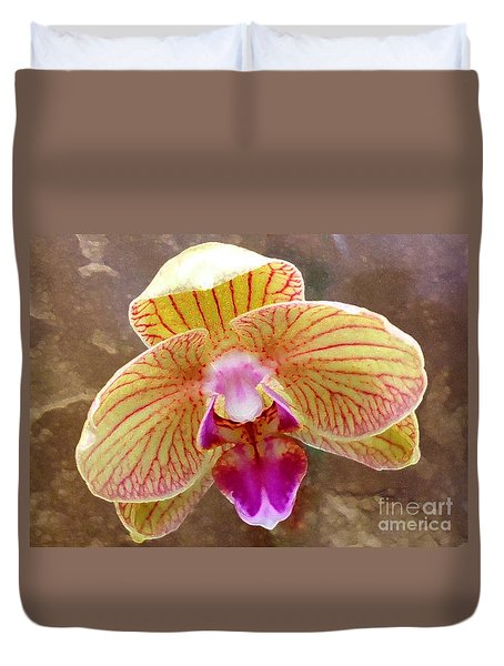 Orchid On Marble Duvet Cover by Barbie Corbett-Newmin