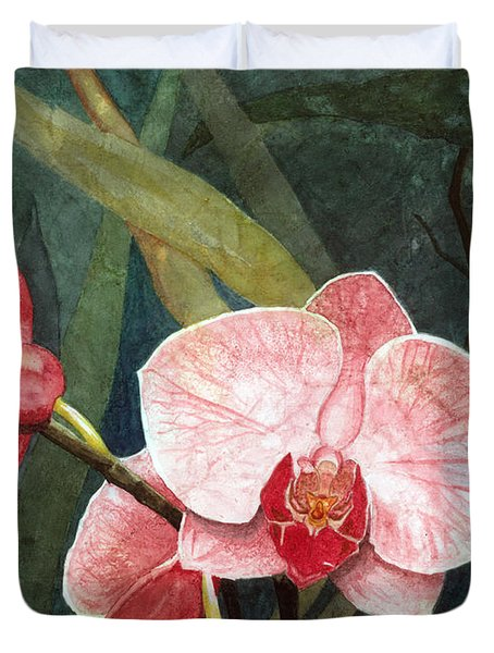 Duvet Cover featuring the painting Orchid Trio 2 by Barbara Jewell