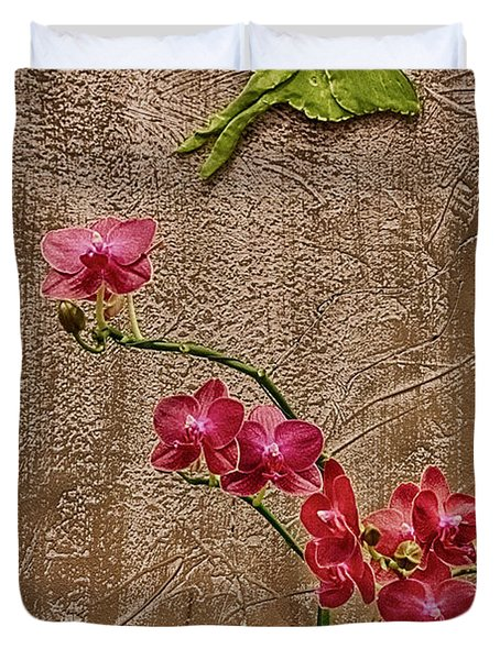Orchids And Butterfly Duvet Cover by John Haldane