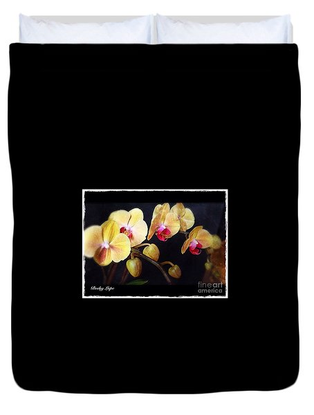 Duvet Cover featuring the photograph Orchids Arise by Becky Lupe