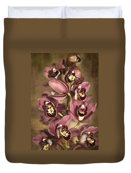 Orchids - Cymbidium  Duvet Cover by Kerri Ligatich