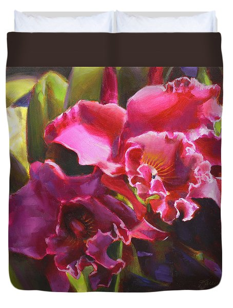 Orchids In Magenta Duvet Cover
