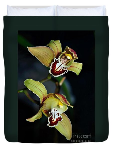Orchids In The Evening Duvet Cover by Kaye Menner