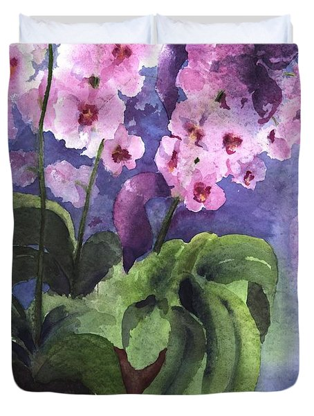 Orchids In The Window Duvet Cover