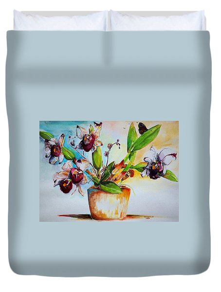 Duvet Cover featuring the painting Orchids Of The Bay by Bernadette Krupa