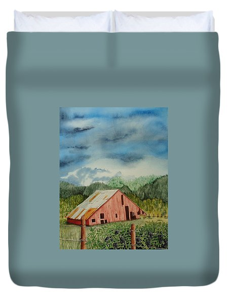 Duvet Cover featuring the painting Oregon Barn by Katherine Young-Beck