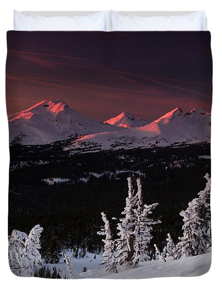 Duvet Cover featuring the photograph Oregon Cascades Winter Sunset by Kevin Desrosiers