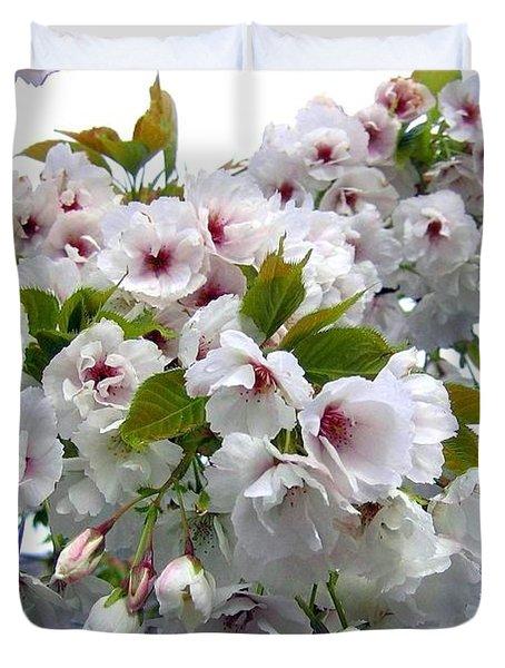 Oregon Cherry Blossoms Duvet Cover