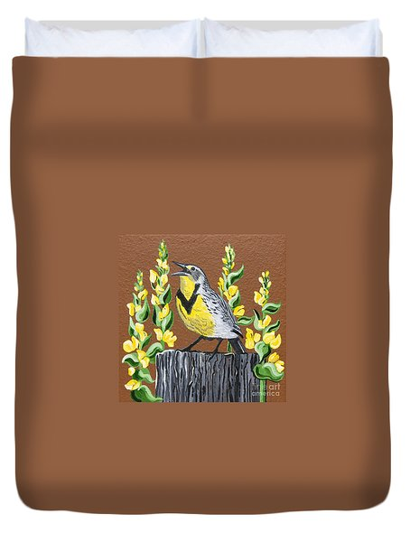 Duvet Cover featuring the painting Oregon Meadowlark by Jennifer Lake