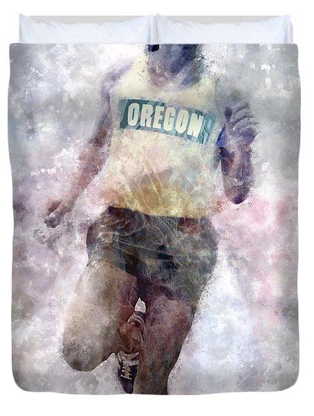 Oregon Running Legend Steve Prefontaine Duvet Cover