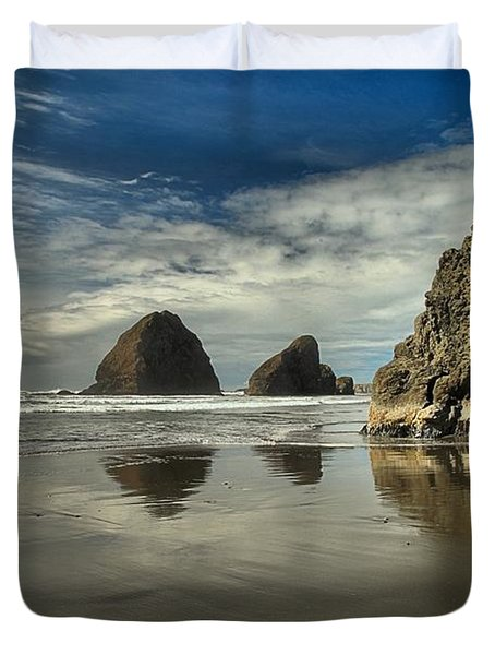 Oregon Sea Stack Reflections Duvet Cover by Adam Jewell