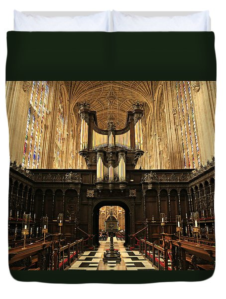 Organ And Choir - King's College Chapel Duvet Cover by Stephen Stookey