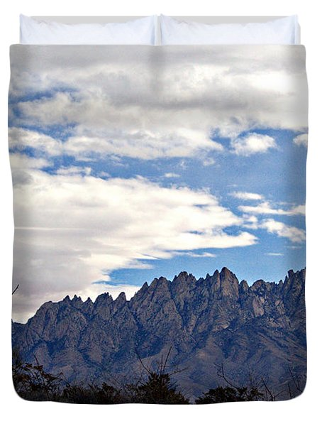 Organ Mountain Landscape Duvet Cover by Barbara Chichester