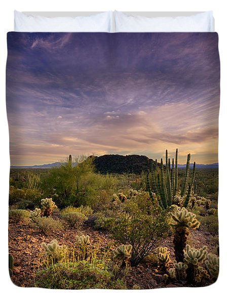 Organ Pipe Cactus Sunset  Duvet Cover by Saija  Lehtonen