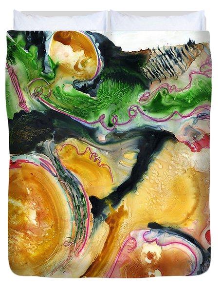 Organic Abstract Art Duvet Cover by Blenda Studio