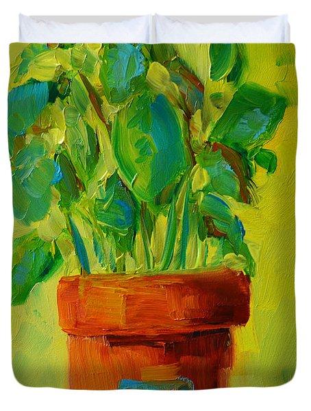 Organic Basil Plant Still Life Duvet Cover by Patricia Awapara