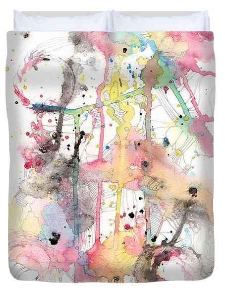 Duvet Cover featuring the painting Organic Clash by Rebecca Davis