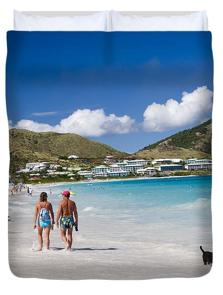 Orient Beach In St Martin Fwi Duvet Cover by David Smith