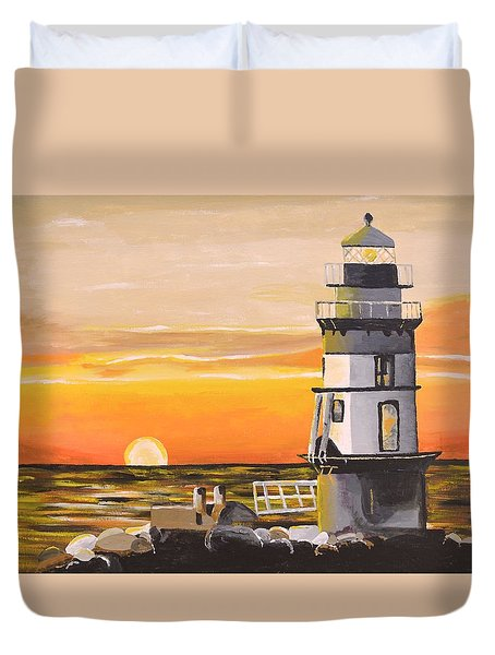 Orient Point Lighthouse Duvet Cover