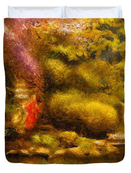Orient - The Japanese Garden Duvet Cover by Mike Savad