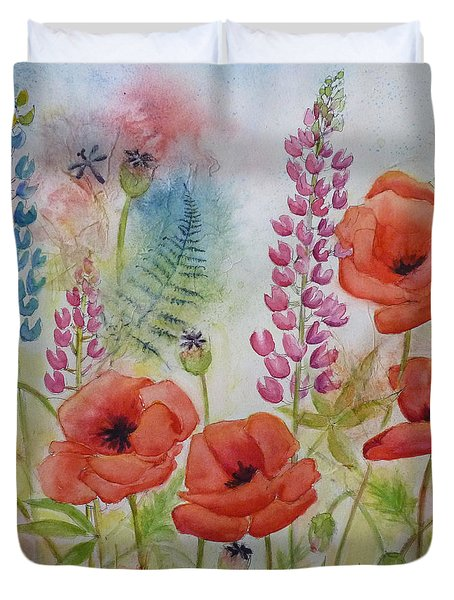 Duvet Cover featuring the painting Oriental Poppies Meadow by Carla Parris