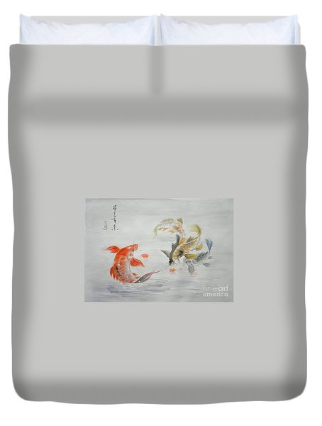 Original Animal  Oil Painting Art- Goldfish Duvet Cover by Hongtao     Huang