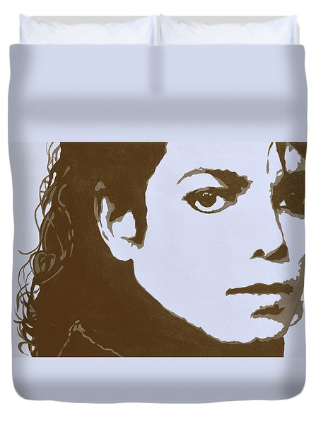 original black an white acrylic paint art- portrait of Michael Jackson#16-2-4-12 Duvet Cover by Hongtao     Huang